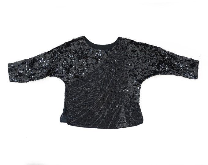 Deco sequin blouse | Vintage 80s black silk Sequin Beaded dolman blouse