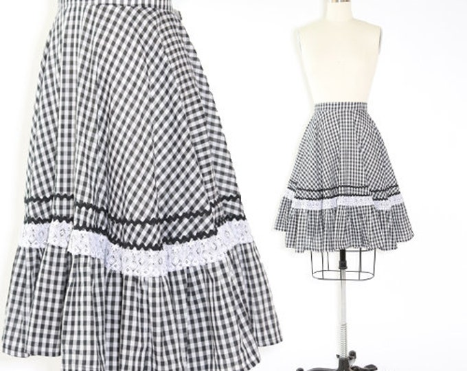 Vintage 50s gingham Circle Skirt L