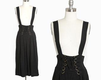 Suspender dress | Vintage 90s black lace up suspender dress