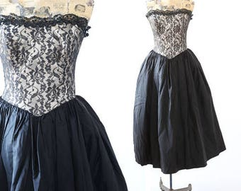Vintage 80s Gunne Sax Dress sequin black Floral Lace Boho Wedding Cocktail Party