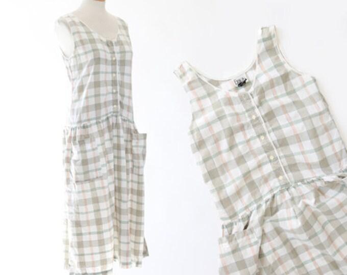 Plaid cotton jumper | Vintage 90s market dress