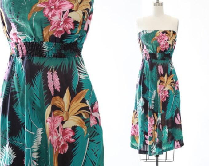 Sherry Holt tropical dress   Vintage 70s Hawaiian dress   Tropical floral rayon dress