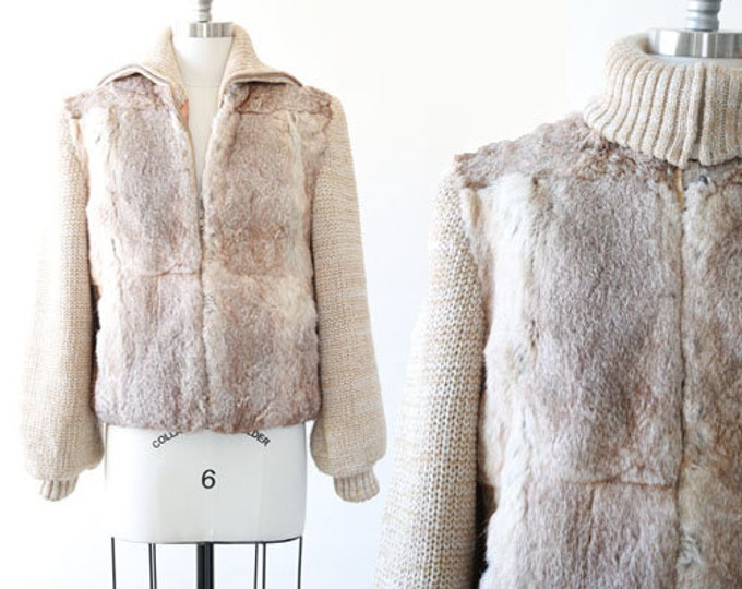 Stella fur coat |  Vintage 70s knit sweater Rabbit Fur Coat Plush bomber coat Jacket M