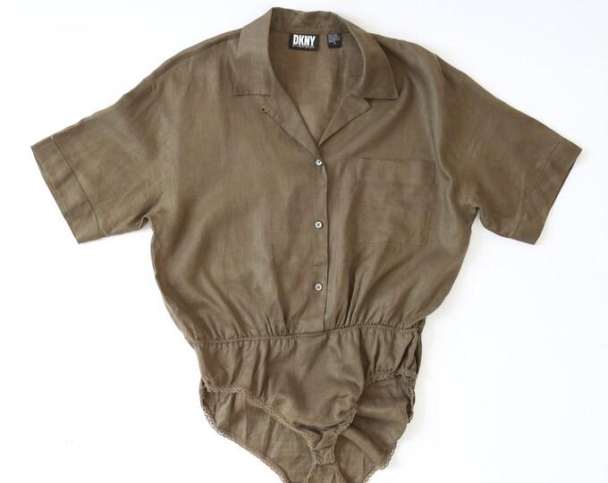 Olive bodysuit   Vintage DKNY linen bodysuit blouse