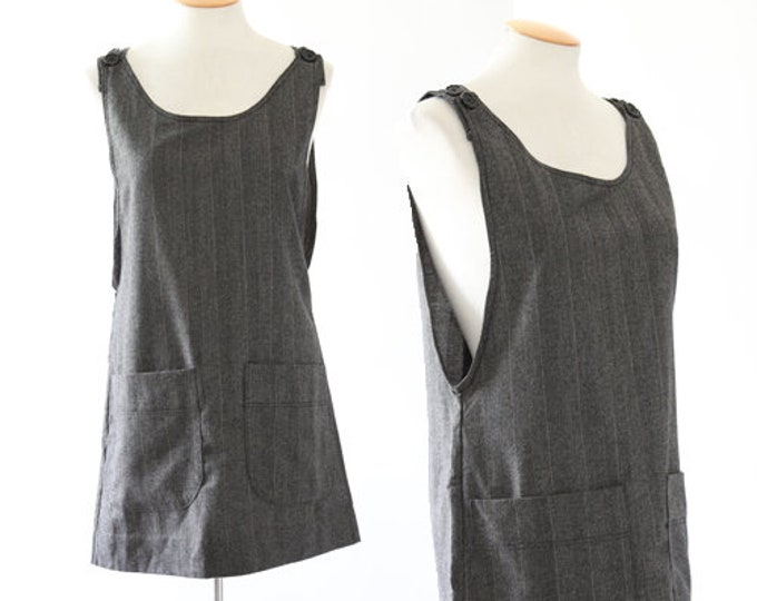 Striped wool jumper | Vintage 90s gray minimalist mini dress