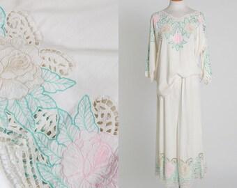 Bali beach set | Vintage white boho embroidered rose Bali pant set | 1980s floral Bali lounge set