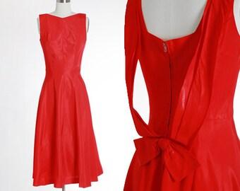 Scarlet satin dress | Vintage 40s red bow dress | 1940s new look dress