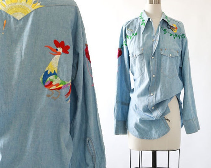 Vintage 70s Bar F embroidered chambray denim work shirt