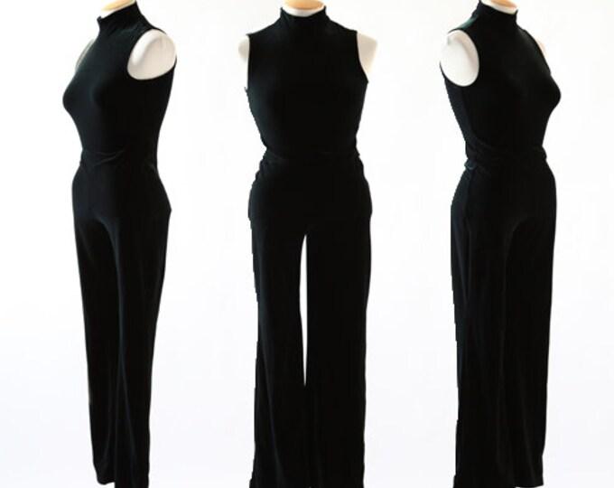 Inky black velvet jumpsuit