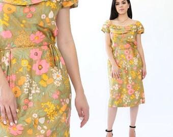 Botanical silk floral dress | Vintage 50s Floral silk wiggle dress