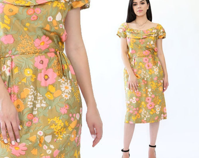 Botanical silk floral dress | Vintage 50s Floral silk wiggle dress