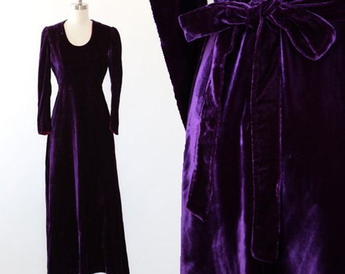 Mauve velvet maxi dress | Vintage 70s purple Velvet maxi dress