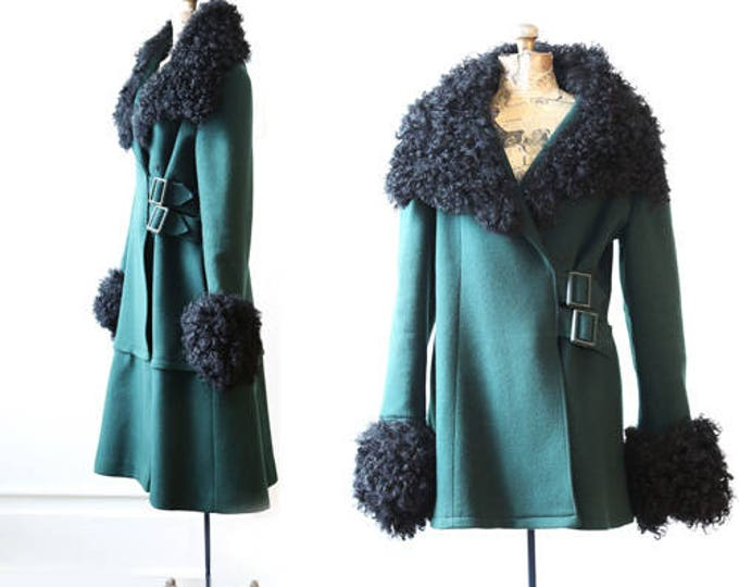 Vintage 60s Mongolian Tibetan Curl Lamb fur coat green wool dress coat jacket M