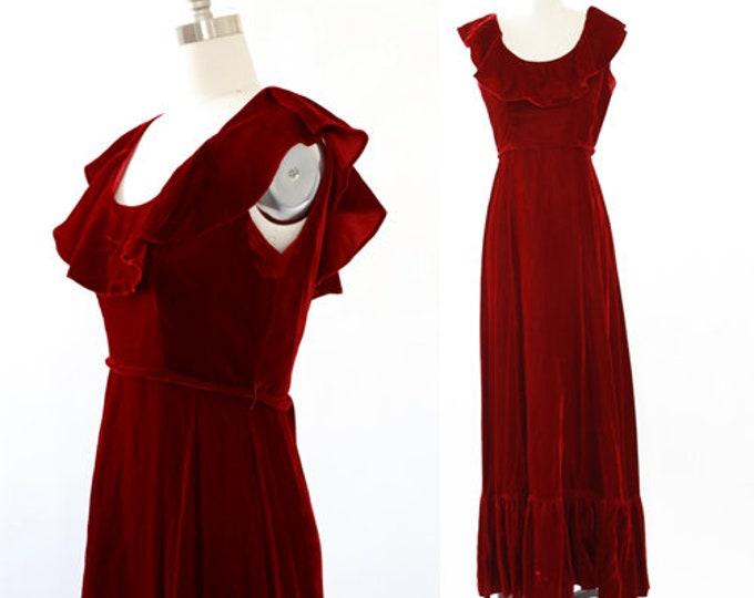 Ox Blood Velvet maxi | Vintage 70s ruffle maxi dress