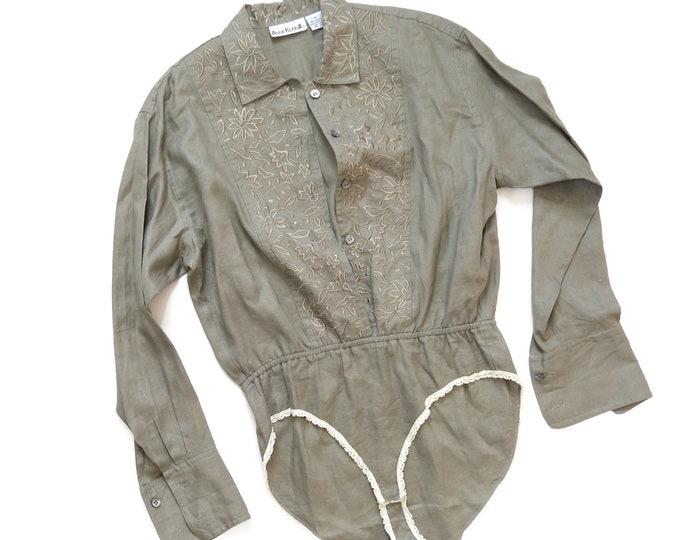 Olive linen bodysuit | Vintage ANNE KLEIN II green linen bodysuit blouse