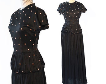 Antique studded gown    Vintage 30s 40s black STUD flower cocktail party dress gown S