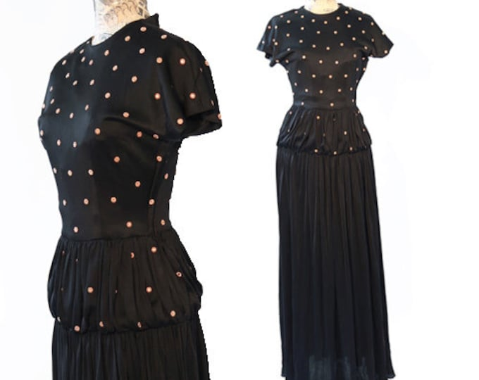Antique studded gown |  Vintage 30s 40s black STUD flower cocktail party dress gown S