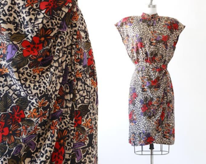 Leopard print silk dress | Vintage 80s floral Leopard print dress | Avant Garde dress