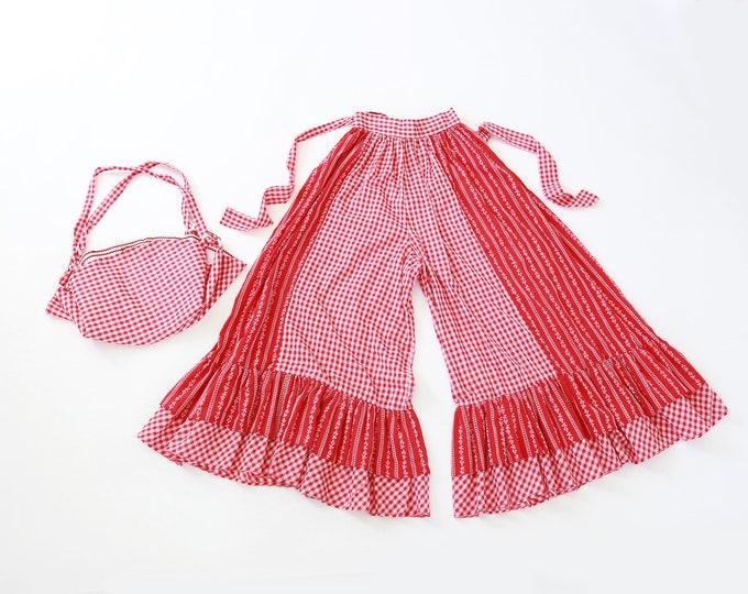 Gingham cotton bells | Vintage 70s floral high waist Bell bottom pants + purse