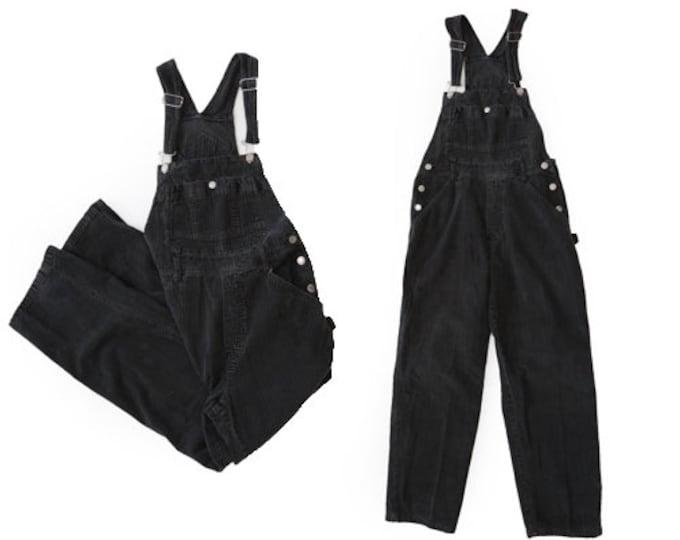 London London corduroy overalls | Vintage 90s black corduroy jean overalls | W31
