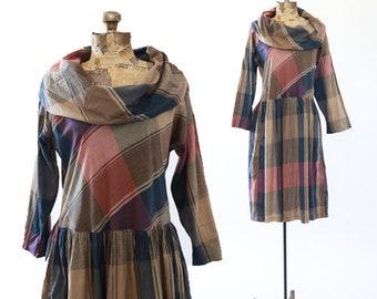 Plaid midi dress | Vintage 60s Cowl neck cotton plaid dress