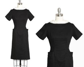 Teena Paige dress | Vintage 60s black + white cotton wiggle dress