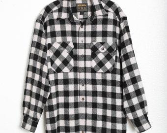 Vintage WOOLRICH black + white buffalo Plaid Hunting Wool Mens shirt top