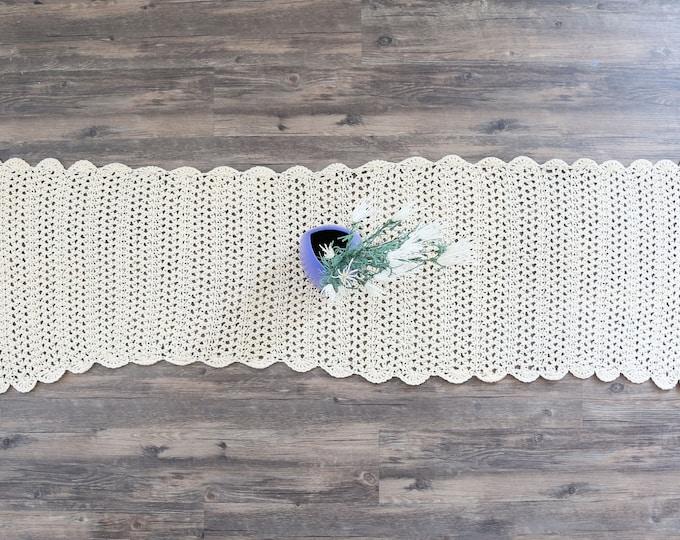 """Vtg Crochet Table Runner cream white Hand Crocheted Lace Cotton Large 65"""" x 18"""""""
