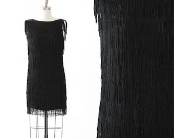 Stepping Out Flapper dress   Vintage 70s 20s fringe mini dress