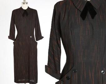 1940s dress | Vintage 40s black ascot bow dress | 1940s black & orange embroidered dress