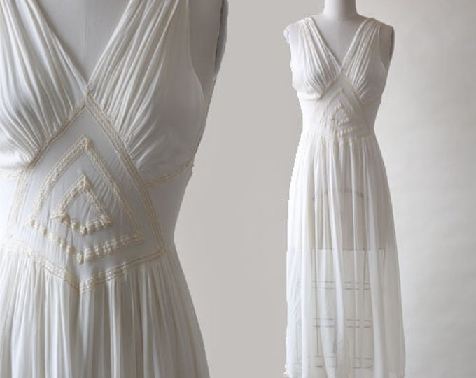 Vintage 30s 40s bias silk slip dress | Wedding dress slip nightie lingerie