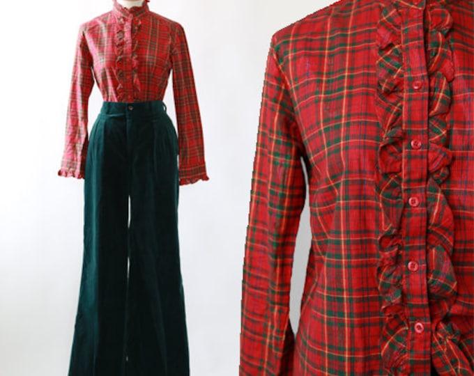 Christmas plaid tuxedo | Vintage 70s lurex plaid blouse | 1970s plaid tuxedo blouse