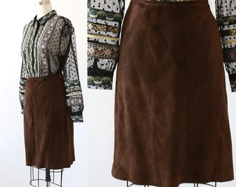 Coco leather skirt | Vintage 60s brown suede leather mini skirt
