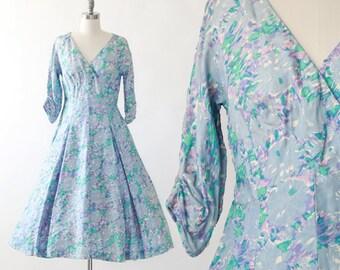 Watercolor silk dress | Vintage 50s silk dress | 50s full skirt dress M L | Marjorie Michael dress
