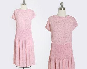 Floral dress | Vintage 70s does 30s pink floral accordion waist midi dress