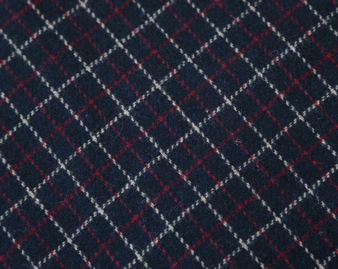 "Vtg Blue red plaid WOOL FABRIC Scottish tweed UPHOLSTERY blanket 116"" x 61"""