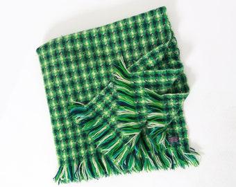 Vintage 50s 60s Pendleton green blue woven plaid virgin wool throw camp blanket