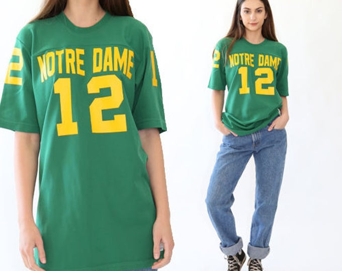 NOTER DAME jersey | Vintage 70s Noter Dame green unisex #12 Jersey T Shirt college Irish Top M