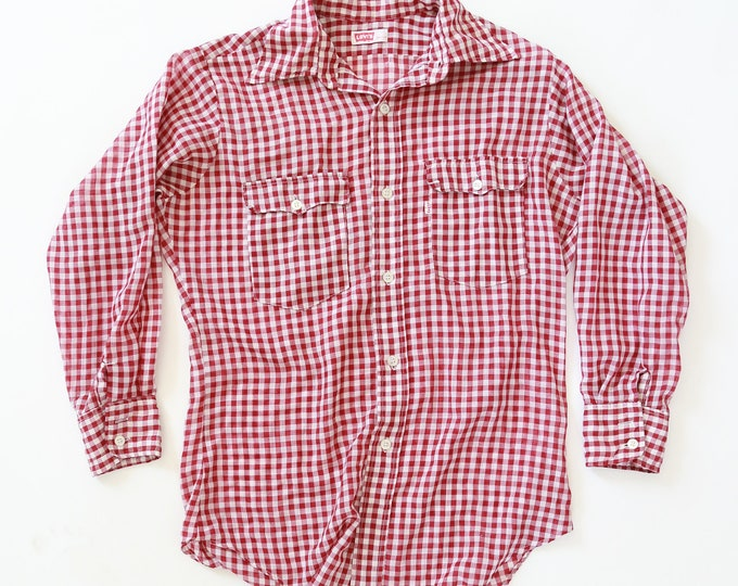 Levis Gingham shirt | Vintage 70s Levis Gingham Western red Work Button Shirt