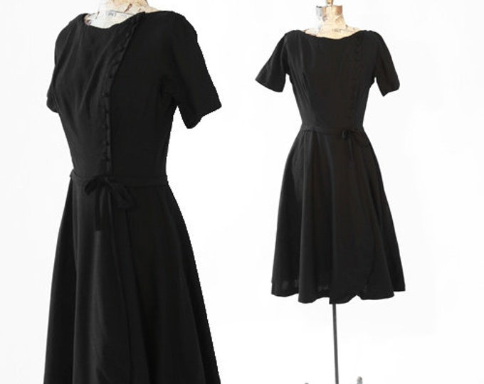 Vintage 50s black linen BOW full skirt cocktail party DRESS S