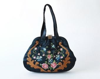Floral Needlepoint handbag | Vintage 40s needlepoint purse | 1940s needlepoint clutch