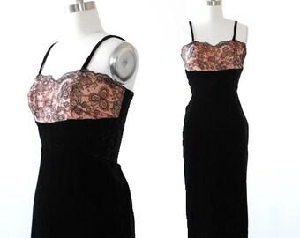 Vintage 50s velvet lace wiggle dress