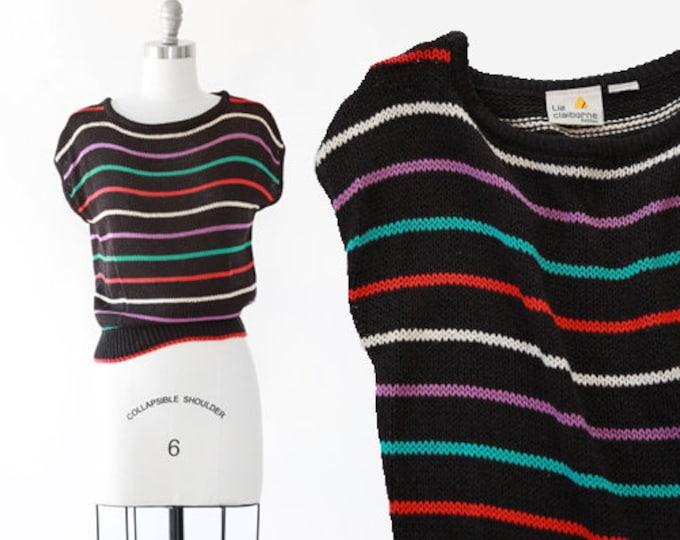 Rainbow striped cotton sweater | Vintage 80s Liz Claiborne knit sweater | Cropped striped sweater