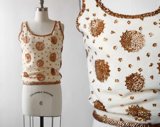 Sunburst sequin tank | Vintage 50s angora knit sequin tank top | 50s sequin sweater