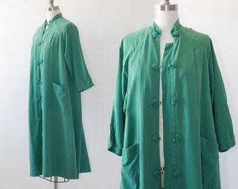 World traveler robe | Vintage 50s oriental silk robe | 1950s Green silk robe