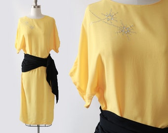 Sterling Silver dress  | Vintage 90s 40s yellow cold rayon crepe dress | Wrap dress