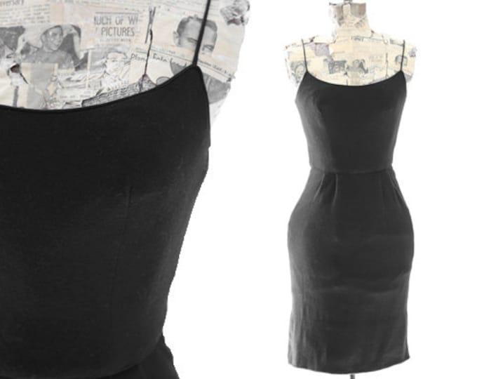 Marnie California dress | Vintage 50s black lambswool mini dress XS