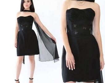 Emma Domb mini dress | Vintage 50s 60s black silk mini dress