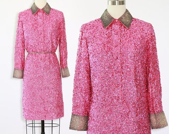 Imperial Imports sequin dress | Rare Vintage 60s Glam Heavily sequin beaded Mod Couture Dress