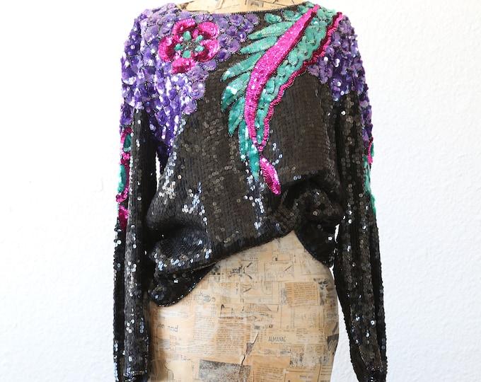 Vintage 80s silk Tropical floral leaf black beaded sequin dress top blouse M